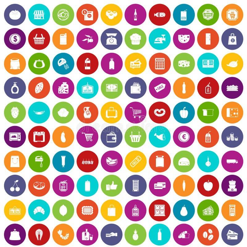 100 supermarktpictogrammen geplaatst kleur royalty-vrije illustratie