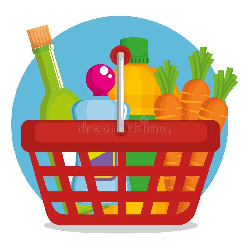 Supermarktproducten in het winkelen mand vector illustratie