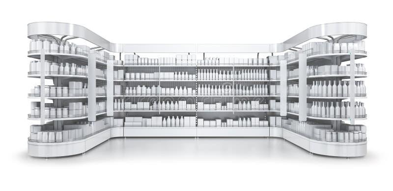 Supermarktregale mit Werbungsdeckel stockfotos