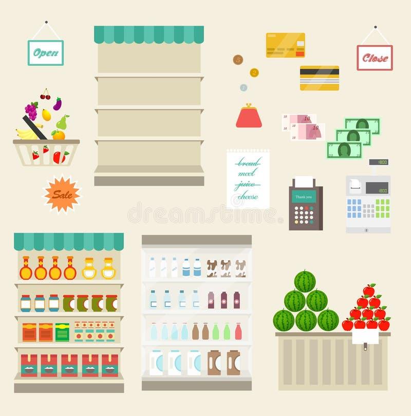 Supermarktvector royalty-vrije illustratie