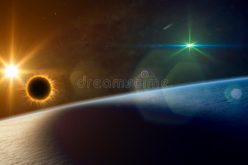Supermassive extraterrestrial life form orbiting planet Earth and makes local solar eclipse royalty free stock photography
