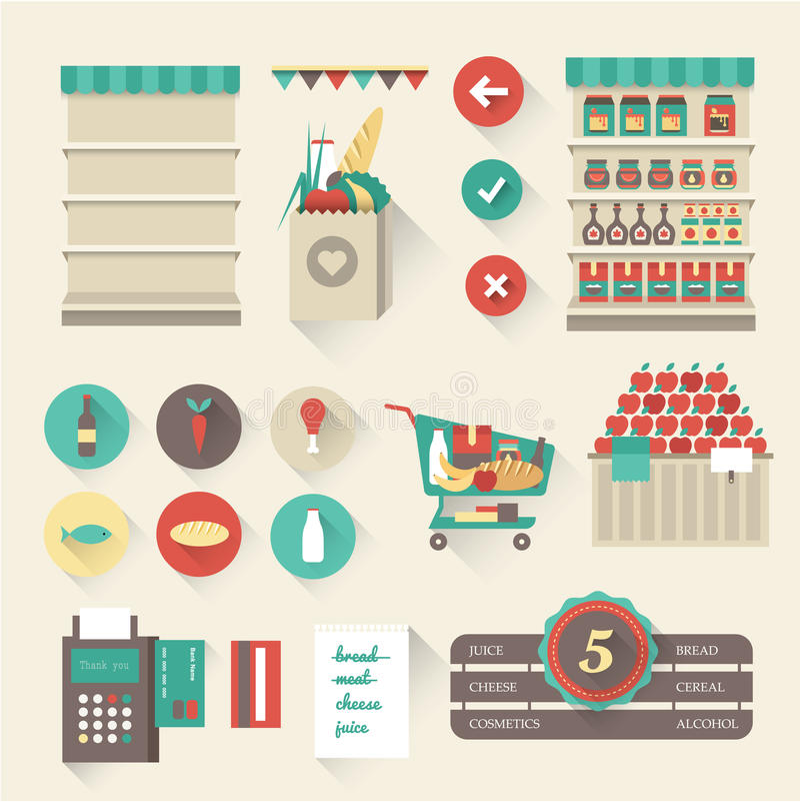 Supermercado ilustração stock