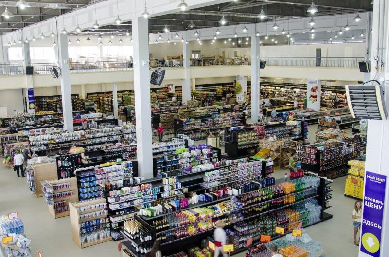 Supermercado, contadores fotos de stock