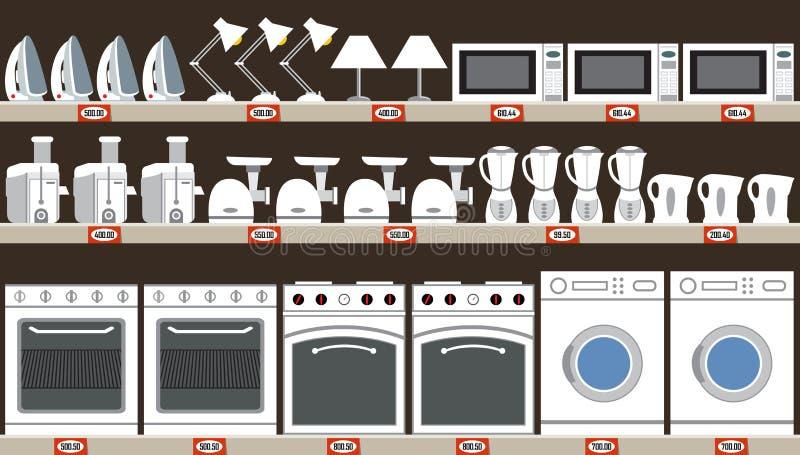 Supermercado de los aparatos electrodomésticos Equipo de la cocina stock de ilustración