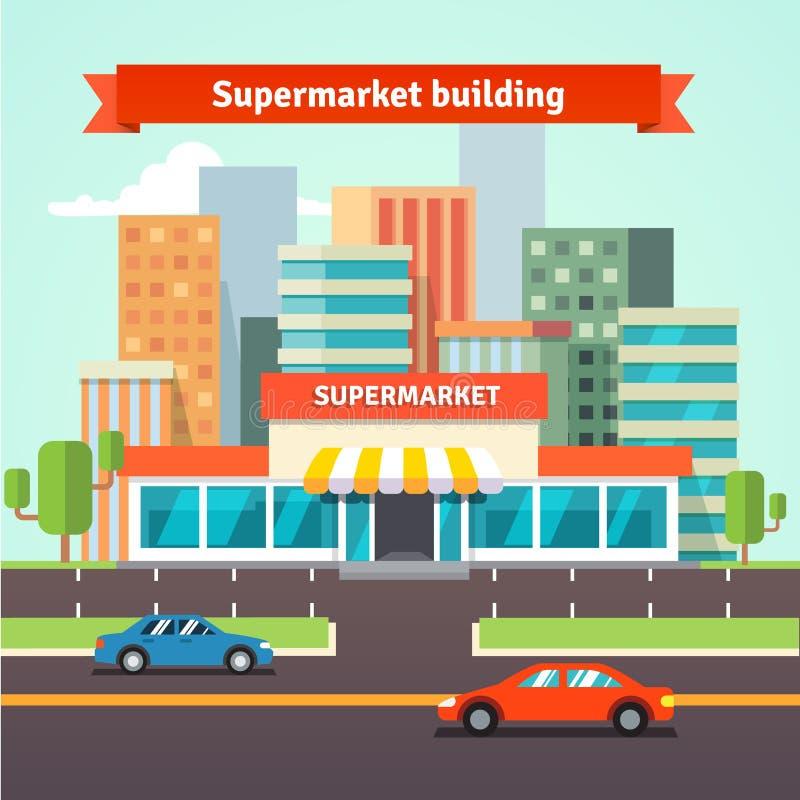 Supermercado del borde de la carretera y fondo del paisaje urbano stock de ilustración