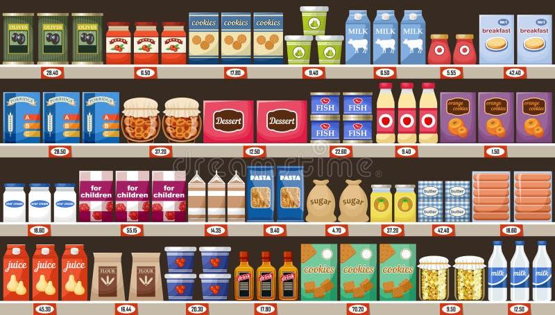 Supermercado, estantes con los productos y bebidas libre illustration
