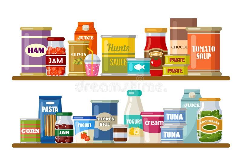 Supermercado, estantes con los productos y bebidas ilustración del vector