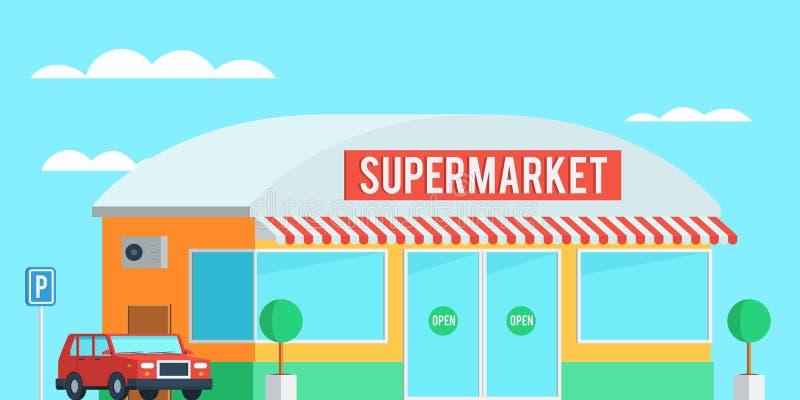 Supermercado exterior con un coche ilustración del vector