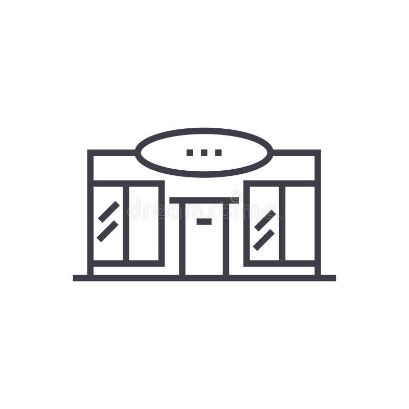 Supermercado, línea icono, muestra, ejemplo del vector del centro comercial en el fondo, movimientos editable stock de ilustración