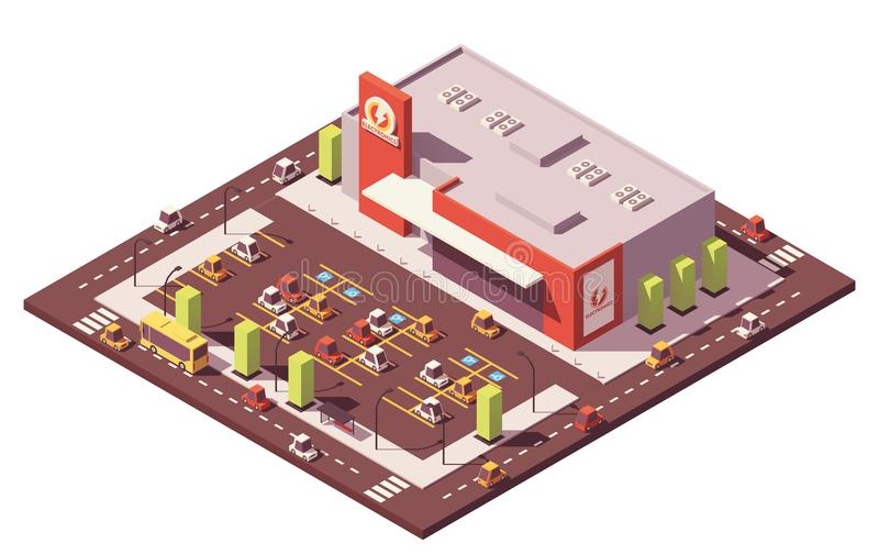 Supermercado poli isométrico do vetor baixo ilustração royalty free