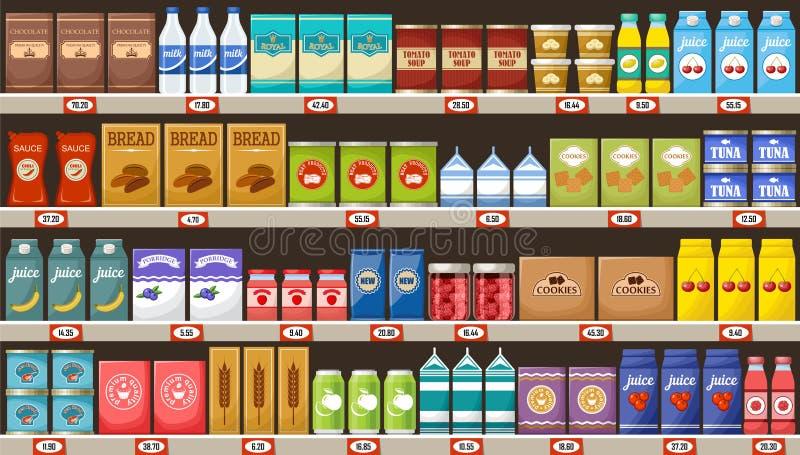 Supermercado, prateleiras com produtos e bebidas ilustração royalty free