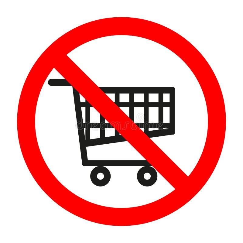 Supermercado prohibido muestra del carro de la compra en el fondo blanco ilustración del vector