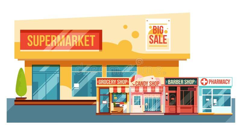 Supermercado y pequeño paisaje urbano de las revistas, estilo plano stock de ilustración