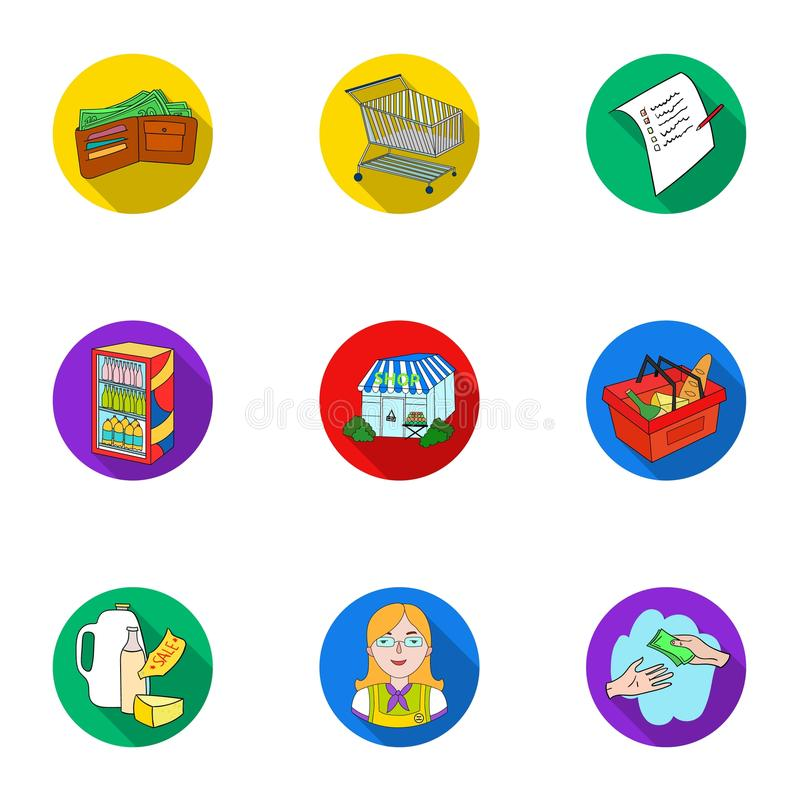 Supermercato, comperante nel deposito Una selezione delle immagini sull'argomento di acquisto Icona del supermercato nella raccol illustrazione vettoriale