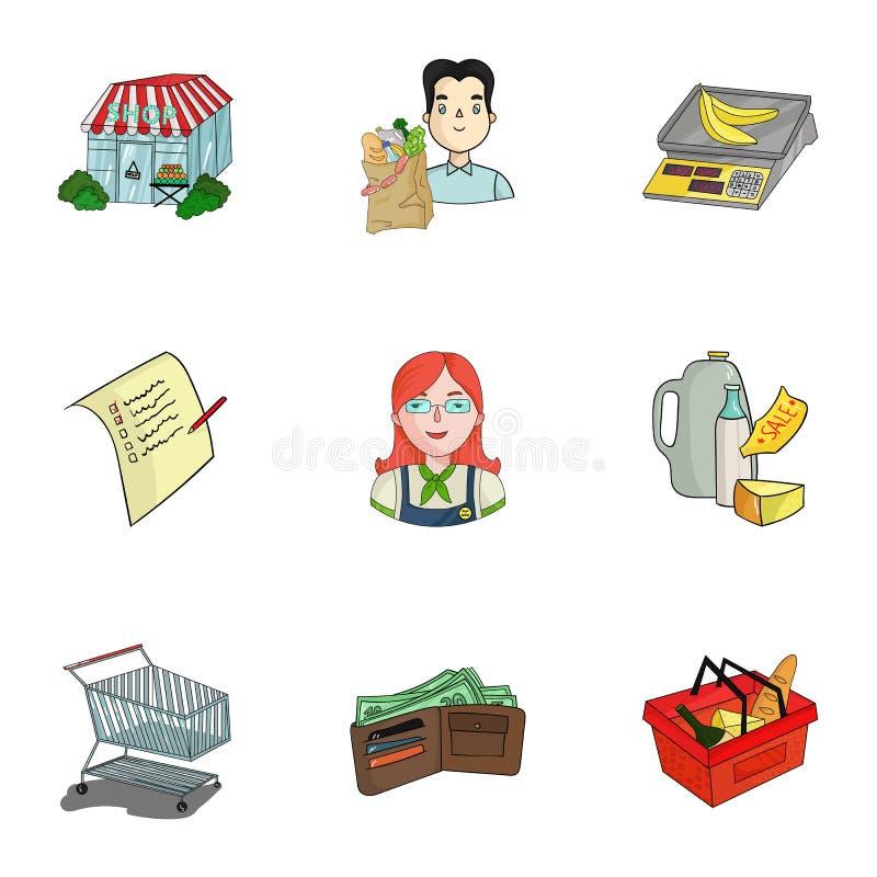 Supermercato, comperante nel deposito Una selezione delle immagini sull'argomento di acquisto Icona del supermercato nella raccol illustrazione di stock