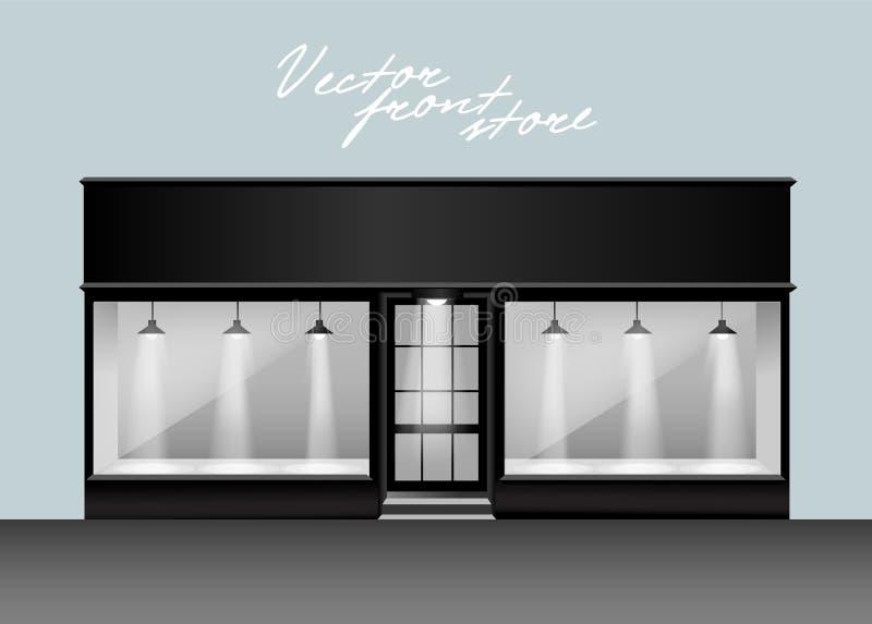 Supermercato dell'annuncio pubblicitario della facciata del deposito di vettore immagini stock libere da diritti