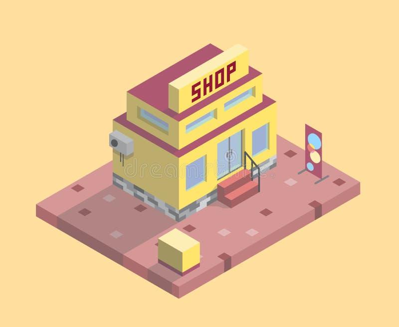 Supermercato a due piani con un'insegna e un marciapiede fotografia stock libera da diritti