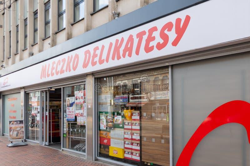 Supermercato polacco di Mleczko Delikatesy fotografia stock