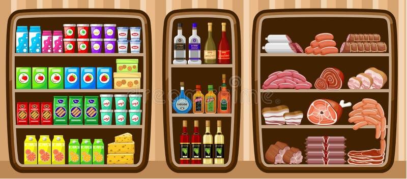 Supermercato. Shelfs con alimento. illustrazione di stock