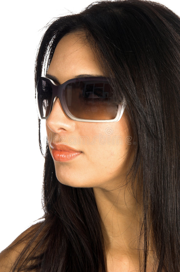 Supermodel Glasses. Close up of a beautiful latina wearing Super Model sunglasses