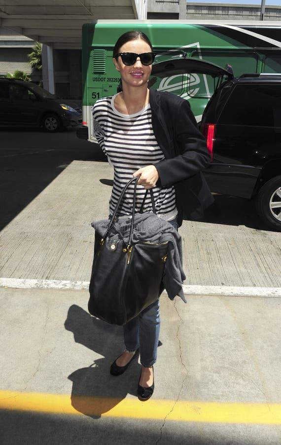 Supermodel Miranda Kerr is seen at LAX royalty free stock photos
