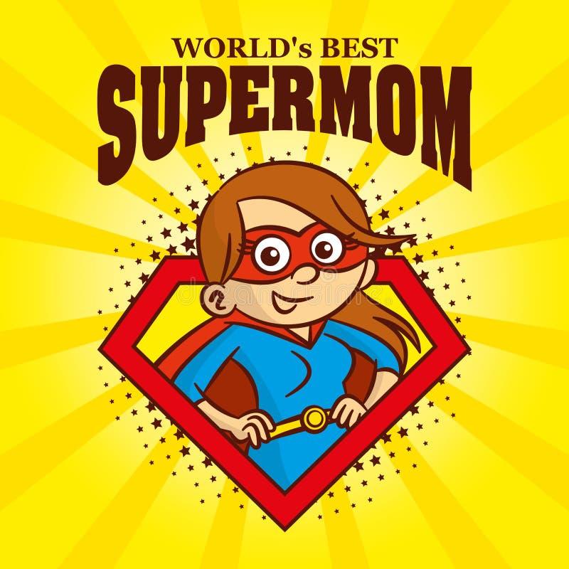 Supermomlogo Zeichentrickfilm-Figur-Superheld vektor abbildung