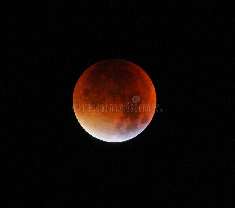 Supermoon completo della luna del sangue immagine stock