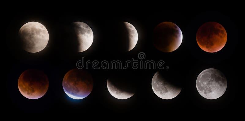 Supermoon månförmörkelsefaser på September 27 2015 arkivfoton
