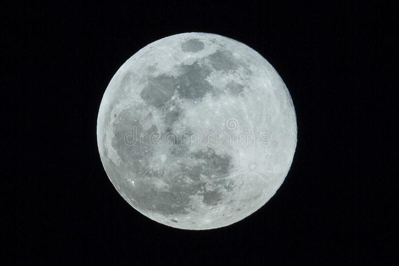 Supermoon of snow 2019. The full moon of today, February 19, 2019, has coincided with a difference of a few hours with the perigee of this year, that is the royalty free stock photo