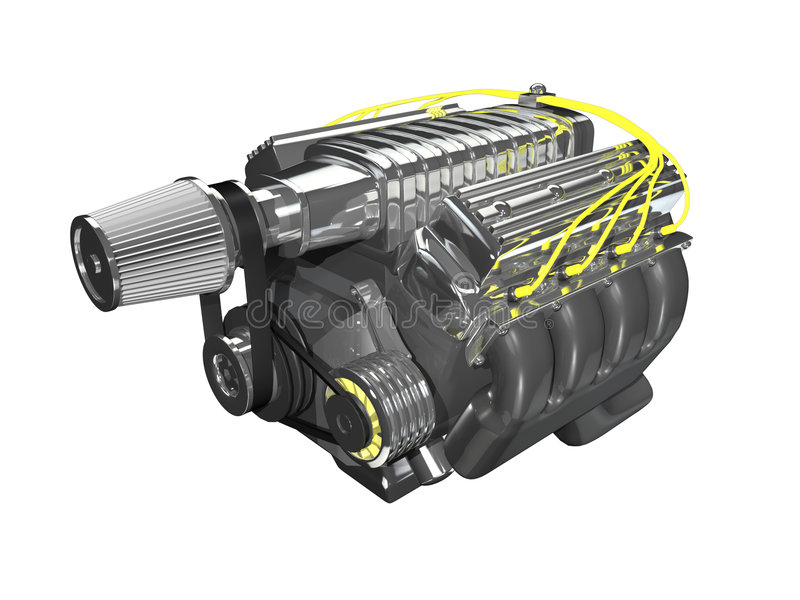 supermotor för laddning 3d royaltyfri illustrationer