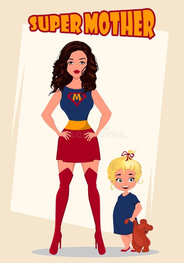 Supermutter, die mit ihrem kleinen Baby steht Superheldfrau im Kostüm lizenzfreie abbildung
