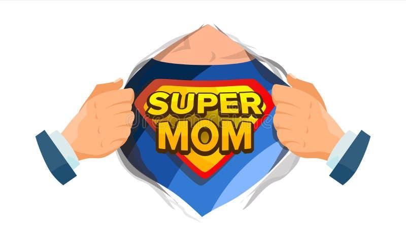 Supermutter-Zeichen-Vektor Tag der Mutter s Superheld-offenes Hemd mit Schild-Ausweis Lokalisierte flache Karikatur-komische Illu lizenzfreie abbildung