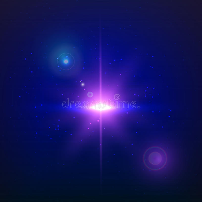 Supernova explosion on a blue background. Vector glowing light effect. royalty free illustration