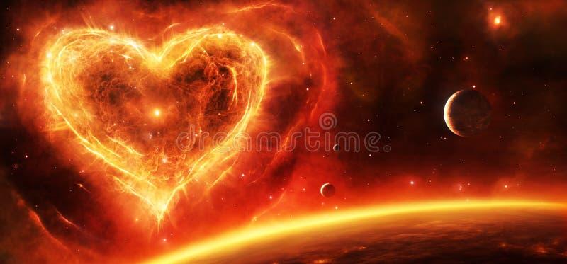 Supernova nebula heart vector illustration