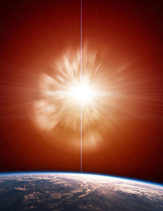 Supernova with Planet Earth royalty free stock images