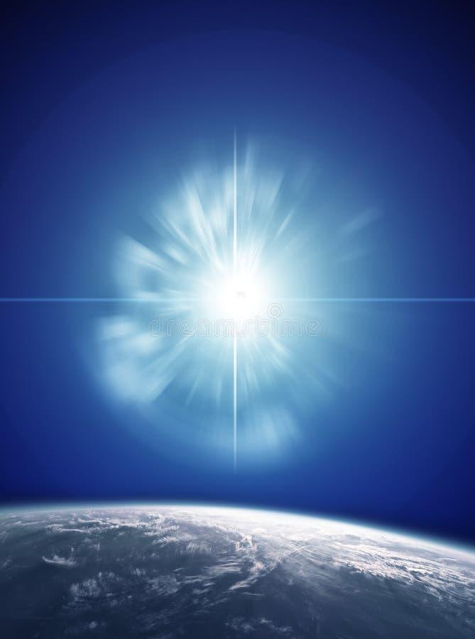 Supernova with Planet Earth stock photos