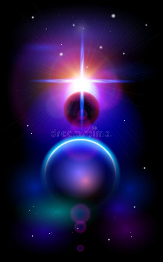 Supernova und eine Parade von Planeten stock abbildung