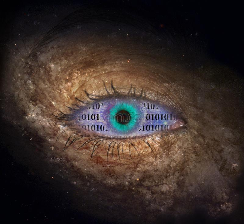 Supernovaauge mit binär Code stockfotos