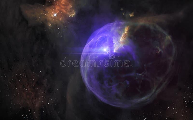 Supernovaexplosion Landskap för djupt utrymme, nebulosor, stjärnaklungor Science royaltyfri bild