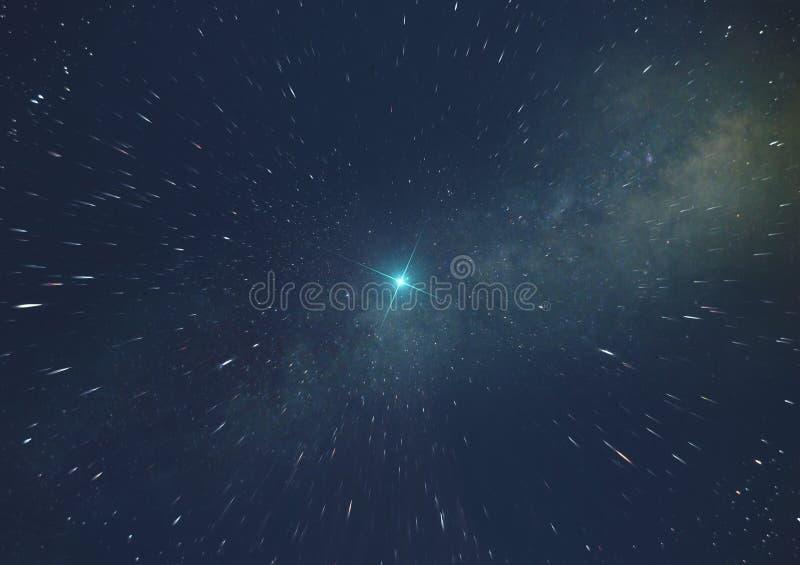 supernovalicht in intergalactische ruimte op de achtergrond van de Melkweg met het effect van beweging aan het centrum van de mel royalty-vrije illustratie