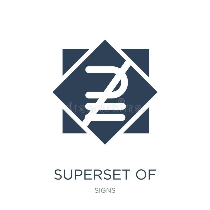 superset επάνω από μη ίσο με το εικονίδιο στο καθιερώνον τη μόδα ύφος σχεδίου superset επάνω από μη ίσο με το εικονίδιο που απομο διανυσματική απεικόνιση