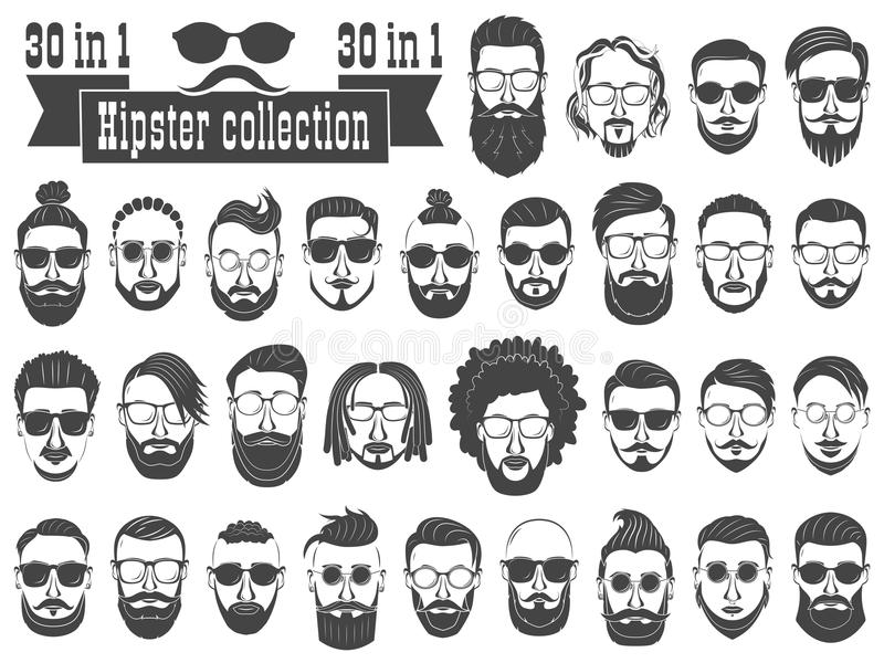 Superset of 30 hipsters bearded men with different hairstyles, m. Ustaches, beards isolated on white background vector illustration