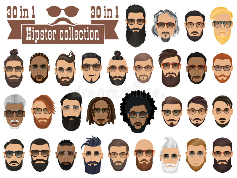 Superset of 30 hipsters bearded men with different hairstyles. Mustaches, beards isolated on white background stock illustration
