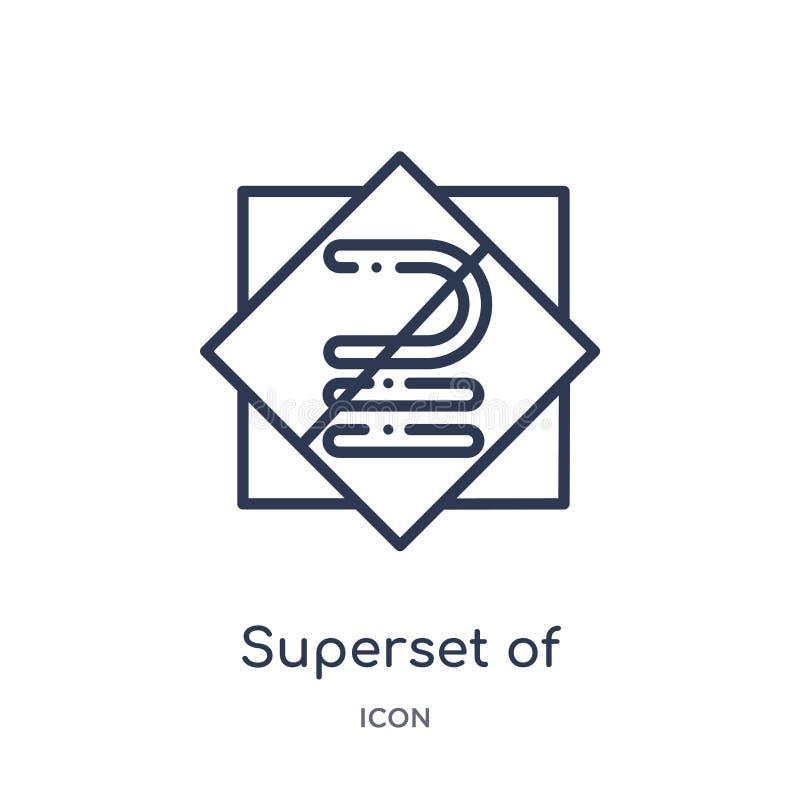 superset nad równy ikona od znaków zarysowywa kolekcję Cienki kreskowy superset nad równy ikona odizolowywająca na bielu ilustracji