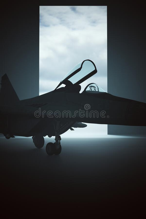 Free Supersonic Jet Aircraft In A Dark Hanger Stock Image - 194797831