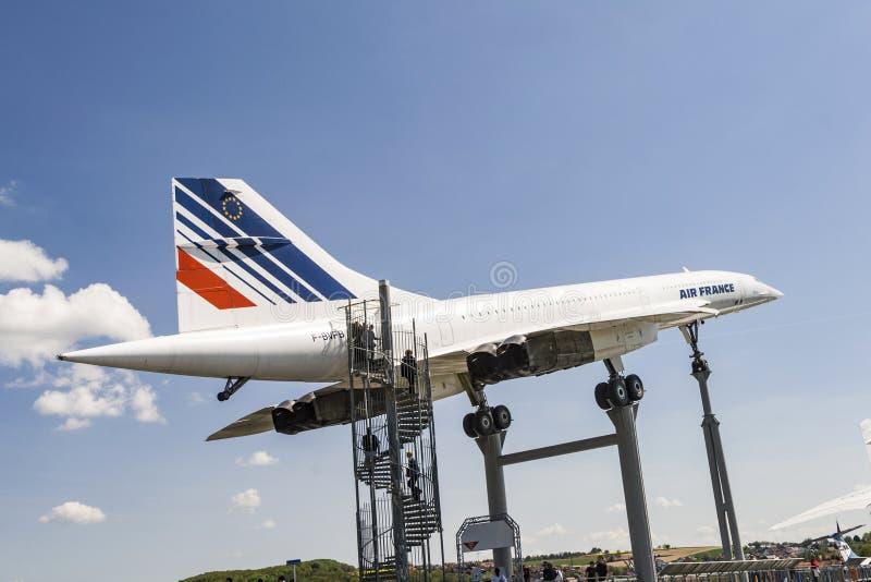 Supersonische vliegtuigen Concorde in het museum stock afbeeldingen