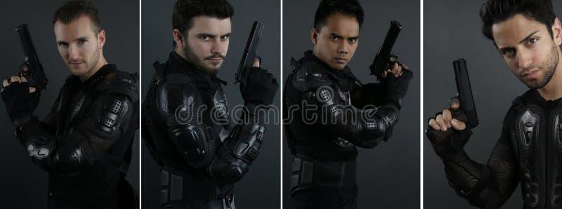 Superspindeln - Porträt von vier Männern der besonderen Kräfte stockbilder