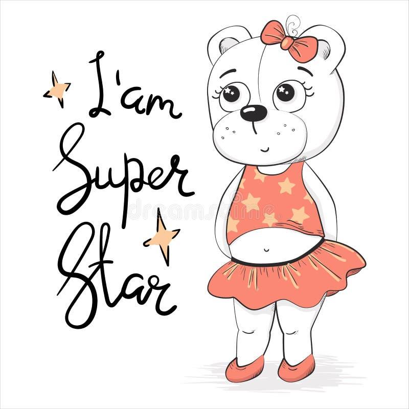 Superstar blanc mignon de fille dans des vêtements blancs illustration libre de droits