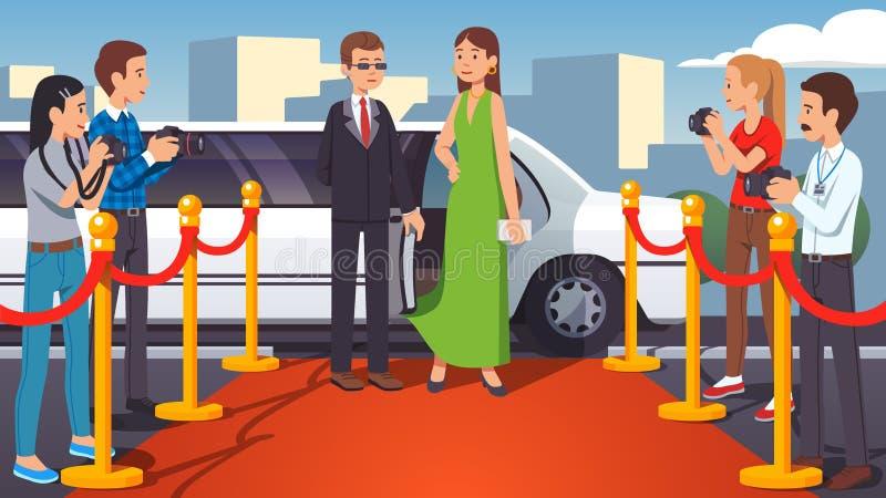 Superstar celebrity woman walking on a red carpet royalty free illustration