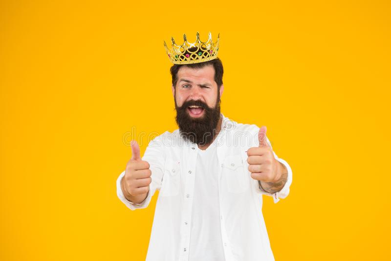 Superstar concept. Bearded man king costume party. Sense of self importance. Handsome bearded guy king. Superiority royalty free stock photography